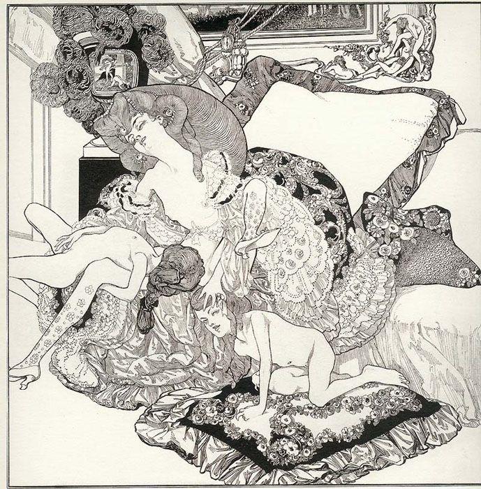 Franz von Bayros (1866-1924) Su obra pertenece al estilo Decadentismo.
