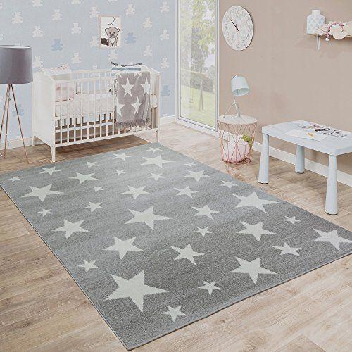 Moderne Poils Ras Tapis Enfant Motif Étoilé Chambre D'Enfant Étoile Gris Blanc Dimension:80x150 cm