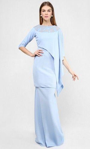 Baju Kurung : Elda Kurung Set in Powder Blue