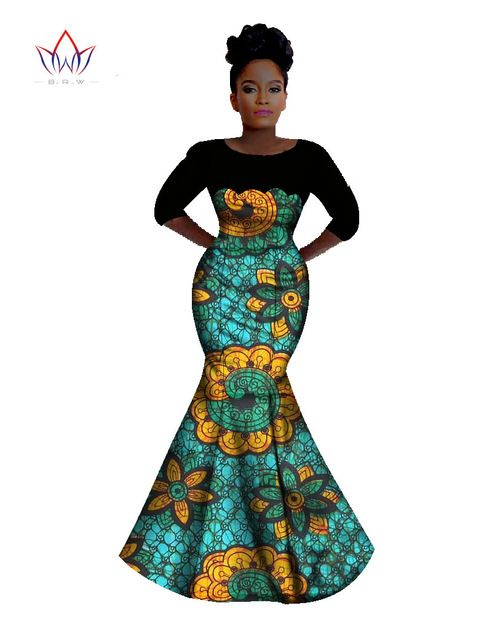 Autumn 2016 Bazin Riche African Wax Print Long Mermaid Dresses Dashiki Plus Size 6XL Africa Style Clothing for Women BRW Y342
