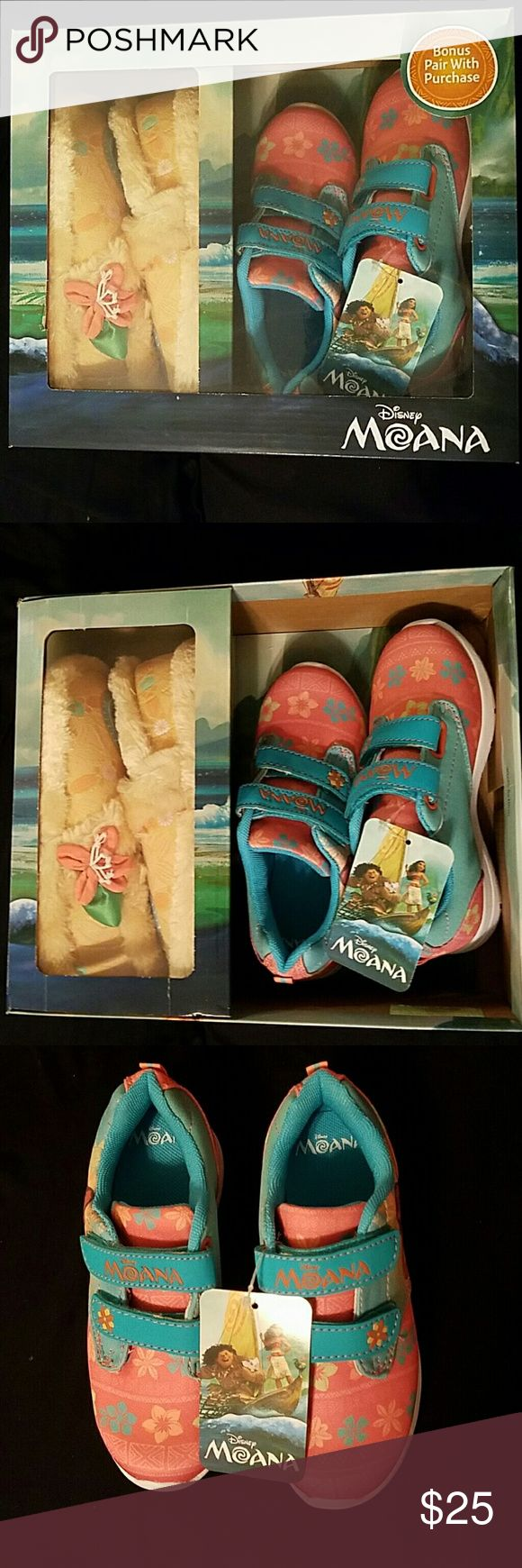 Disney Girls' Moana Sneaker & Slipper Gift Set Disney Girls' Moana Sneaker & Slipper Gift Set  New in Box  Size:  12   Sneakers: Hook-and-loop closure, padded collar, cushioned tongue, knit upper, round toe, cushioned footbed, ethylene vinyl acetate midsole, ethylene vinyl acetate outsole   Slippers: Slip-on, plush upper, round toe, cushioned footbed, fabric midsole, non-slip gripper outsole Disney Shoes Sneakers