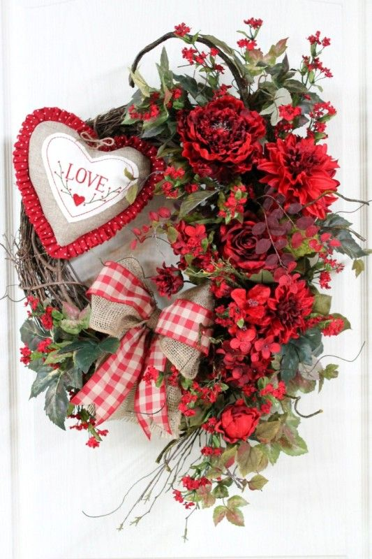 Country Valentine Door Wreath, Primitive Heart, Red Flowers, Burlap And  Country Red Checked Bow