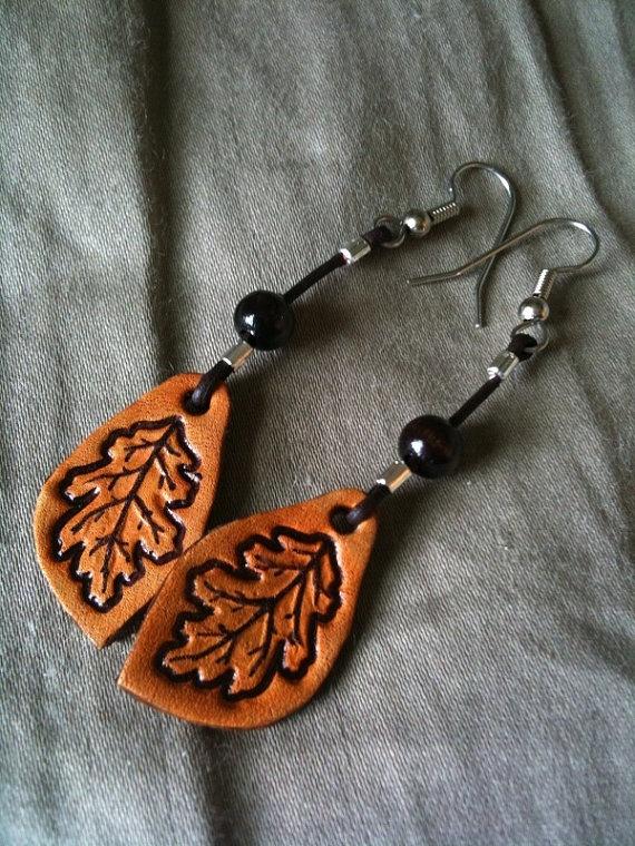 hand tooled oak leaf earrings #oak #leaf #earrings #tooled @www.etsy.com/shop/costalmainecreation