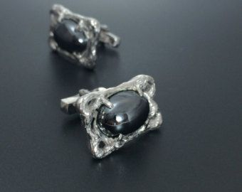 Zilveren Manchetknopen mannen sieraden hematiet Manchetknopen zwart sieraden