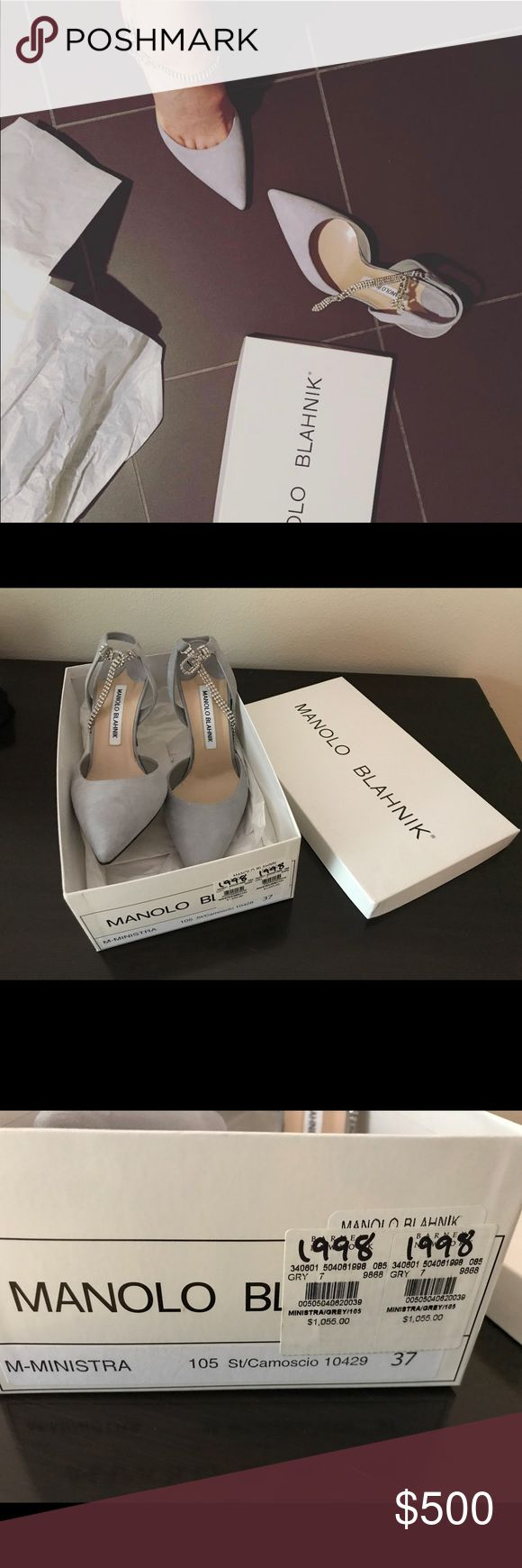 Authentic Manolo blahnik heel size 37 Light grey color suede Manolo Blahnik heels size 37. Purchased from Barney's newyork official website. I have the receipt and the original box. I only worn this shoes for 2 hours inside of a hotel room for a birthday party. There is no damages or any stains at all except the bottom of the shoes has some stains as you can see in the photos. Manolo Blahnik Shoes Heels