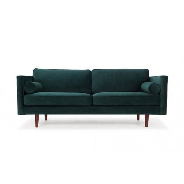 Harper, 3-seater sofa, Velour Dark Green, Walnut Stained Legs (17,825 MXN) ❤ liked on Polyvore featuring home, furniture, sofas, 3 seater couch, hunter green sofa, dark green sofa, hunter green couch and velour sofa