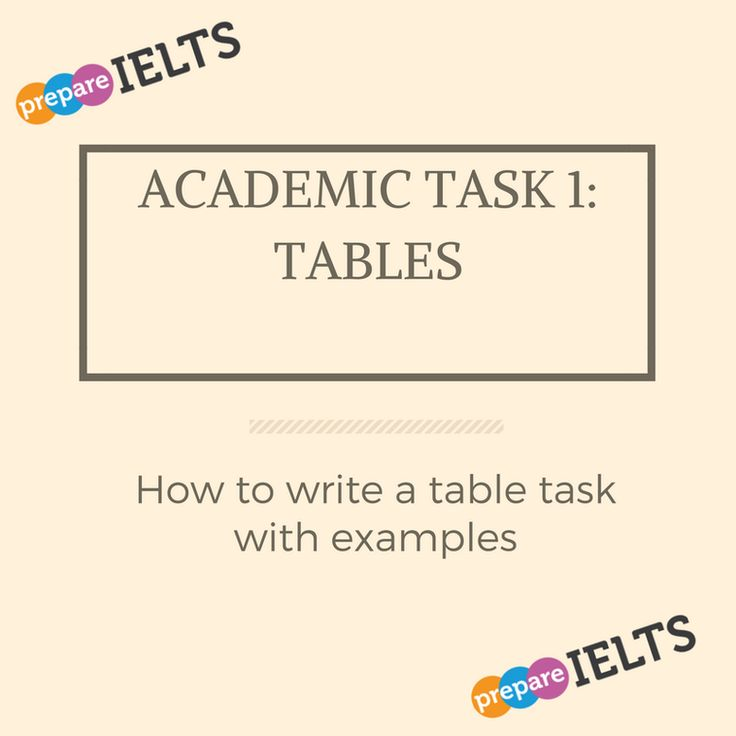 How to write a task 1 table