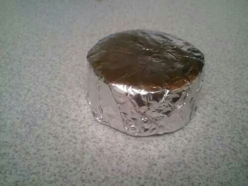 Hostess Ding Dongs wrapped in the foil...straight to the freezer!!