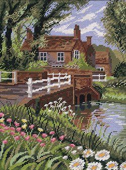 Needlepoint canvas careens cottage | Poppy Towpath Tapestry Kit 1566