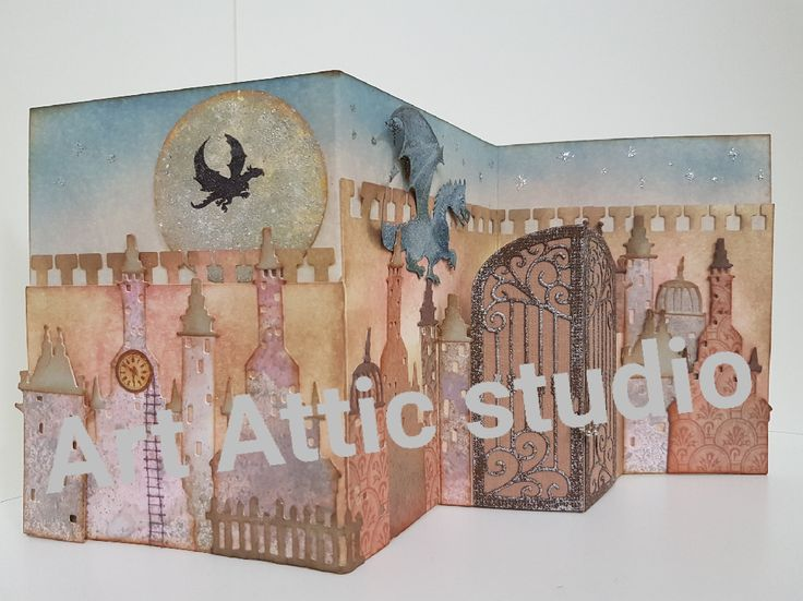 Card by Susan of Art Attic Studio. Dies: Cityscape Metropolis siz661804 & Halloween Shadows siz658253 both by Tim Holtz; Gothic Gate 51-146 by Penny Black; Dragon YCD10045 by Yvonne Creations. Stamps: moon & dragon by Lavinia Stamps