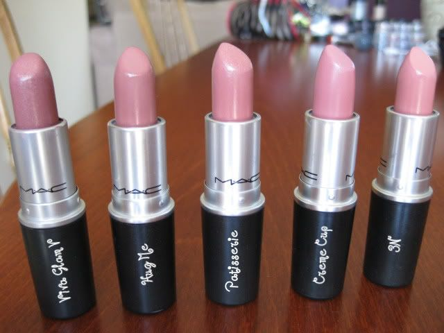 MAC shades L-R (Viva Glam V, Hug Me, Patiserie, Creme Cup, 3N) - I LOVE Creme Cup and Viva Glam V (Id skip Patiserie not enough color or coverage).