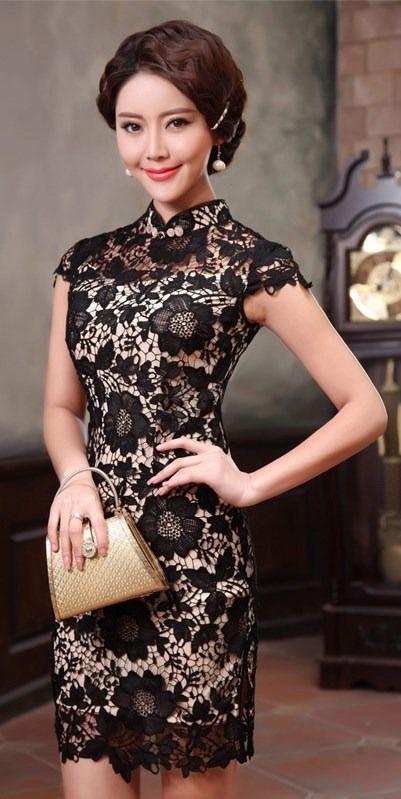 Vestido Chino De Encaje Negro Fino Y Fondo Beige P/fiesta - $ 2,000.00 en MercadoLibre