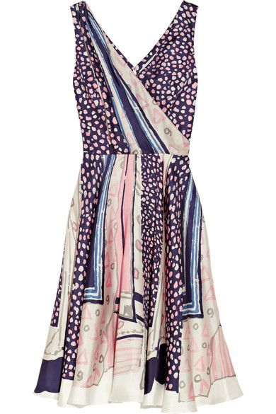 Oscar de la Renta printed silk-twill wrap-effect dress, $4,015