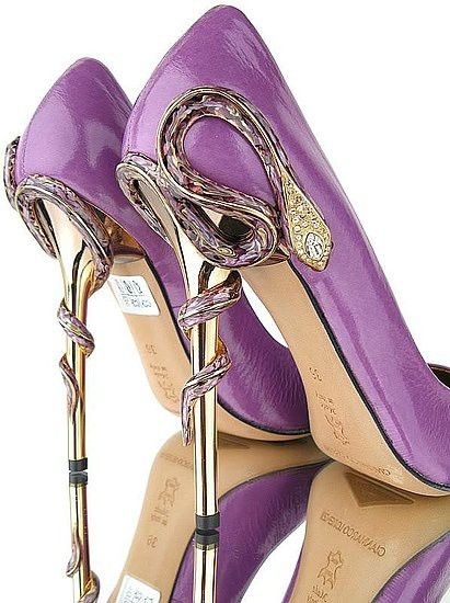Purple dress shoes - of course I would want these with the Cobras slithering up and around the heels....