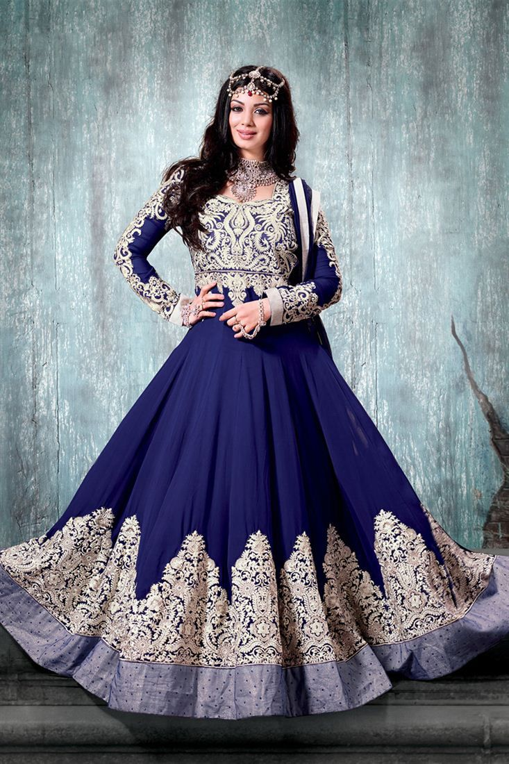 Shop Shoponbit Heavy Embroidered Work Navy Blue Color Designer Anarkali Suit by Shoponbit online. Largest collection of Latest Anarkalis online. ✻ 100% Genuine Products ✻ Easy Returns ✻ Timely Delivery