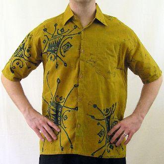 "Men's Mustard and Black Batik Shirt-Large 46""-47"""
