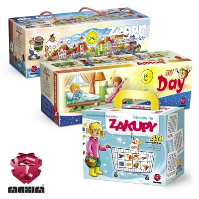 Zestaw 3 gier edukacyjnych,podczas których dziecko uczy się kojarzyć i łączyć elementy z którymi spotyka się w typowych sytuacjach życia codziennego.W skład zestawu wchodzi:-ZEGAR W MOIM MIEŚCIE-MÓJ DZIEŃ-IDZIEMY NA ZAKUPYW ZESTAWIE MAXIM TANIEJ!