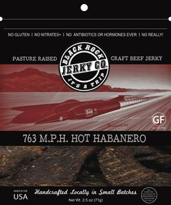 The official land-speed record of 763 MPH was set on October 15, 1997 on the Black Rock Desert Playa. The Thrust Super Sonic Car was the first to break the sound barrier.  This image and story are fast, hot and fiery  just like this HOT (and we mean HOT) Habanero Beef Jerky.