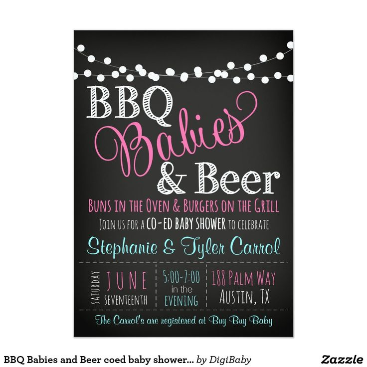 jungle theme baby shower invitation sayings%0A BBQ Babies and Beer coed baby shower invitation