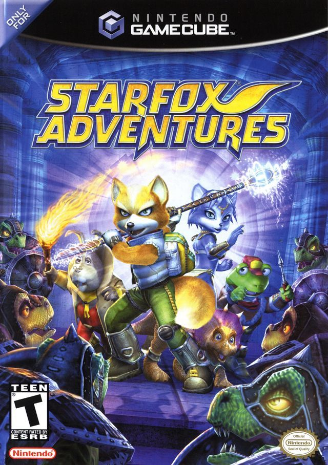 "Box art for ""Starfox Adventures,"" a third-person 3D platformer for the Nintendo GameCube released in 2002."