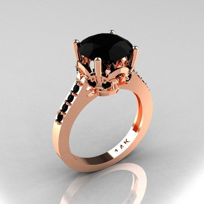 Classic 14K Rose Gold 3.0 Carat Black Diamond Solitaire Wedding Ring R301-14KRGBDD. $1,099.00, via Etsy.