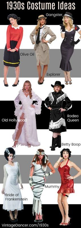 1930s costume ideas - Olive Oyl, Betty Boop, Gangster (Bonnie), Old Hollywood siren, Rodeo Queen, Bride of Frankenstein, the Mummy and more classic vintage Halloween costumes.