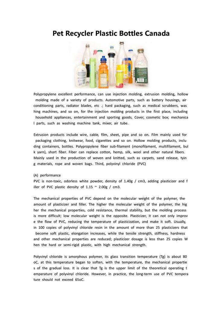 Pet recycler plastic bottles canada Pet bottle, Custom