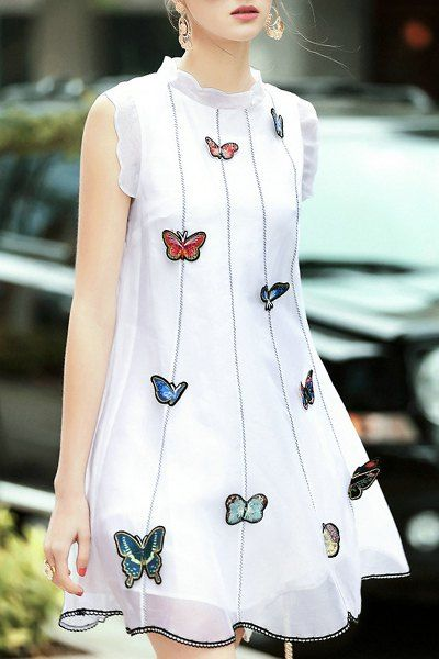 Butterfly Embroidery Stand Neck Sleeveless Dress I want this so bad :OOO