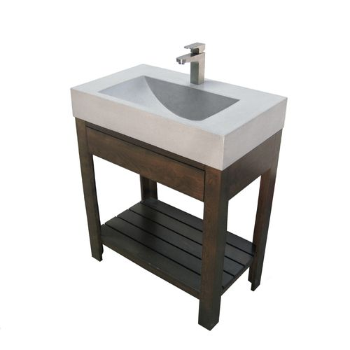 "Trueform 30""Lavare Concrete Bathroom Vanity Sink with Drawer is a custom modern sink with contemporary features for the bathroom, or powder room. Wharton, New Jersey. Vanity top integral sink with base."