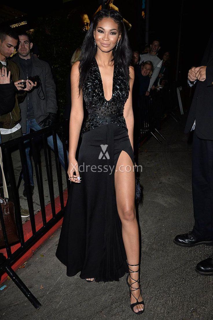 Chanel iman golden globes unique black slit prom dress