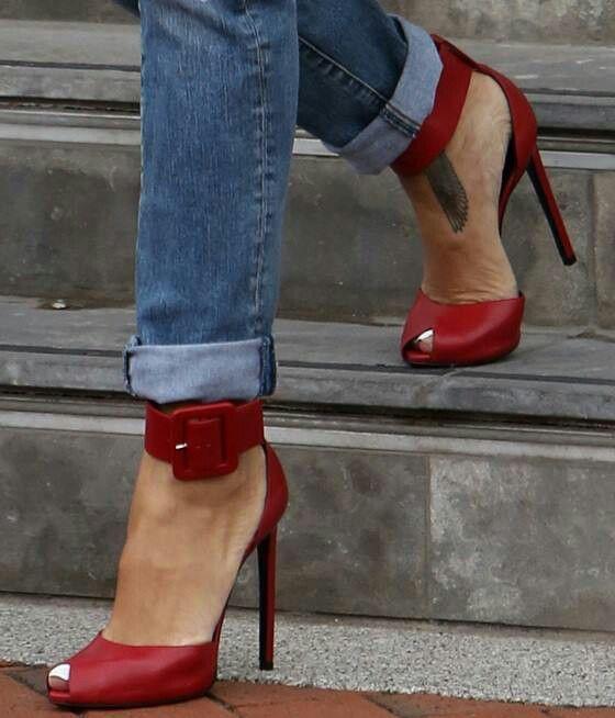 "Rihanna Rocks the Red Saint Laurent ""Paris"" Ankle-Cuff Sandals ~ 20 Trendy Shoe Styles On The Street - Style Estate -"
