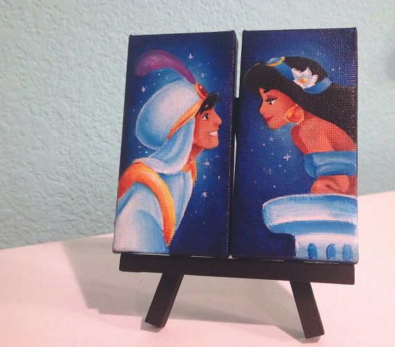 I WANT THIS scratch that NEED THIS!  Aladdin mini canvas set by Jaysart on Etsy, $30.00