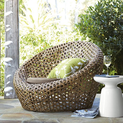 Crafted from all-weather wicker and newly improved lightweight, rust-resistant frames, this airy, open-weave seating is designed to live outside, rain or shine.