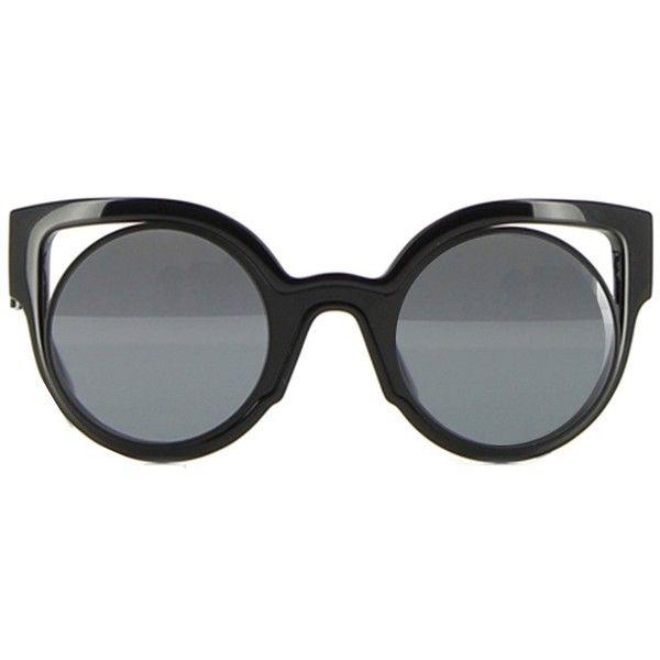 Fendi Paradeyes Sunglasses found on Polyvore featuring accessories, eyewear, sunglasses, fendi sunglasses, fendi, black glasses, black sunglasses and fendi glasses