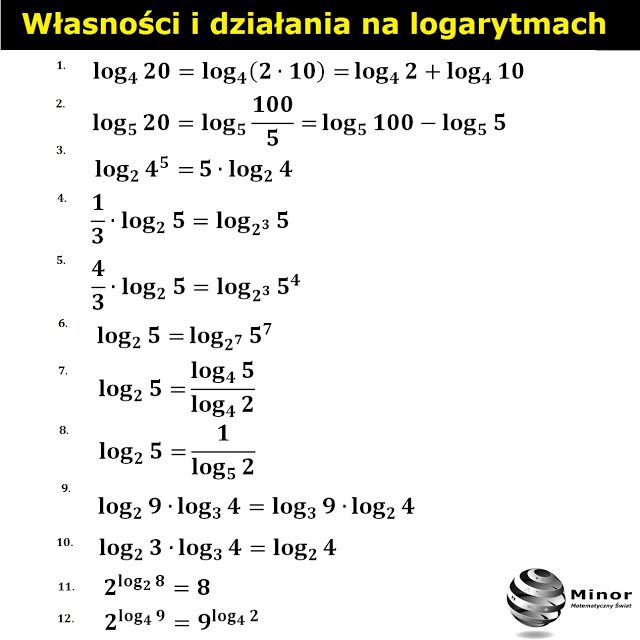 Sprawdź z jakich wzorów i własności można skorzystać na mnożenie, dzielenie, dodawanie, odejmowanie logarytmów o tych samych i różnych podstawach.