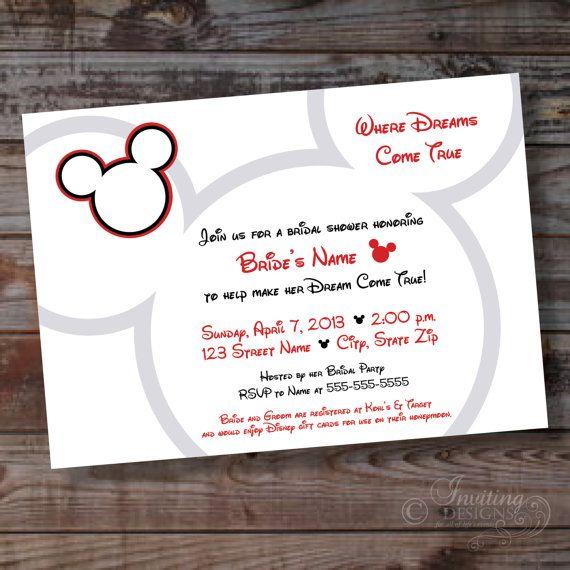 Mickey Bridal Shower Custom Invitation  Ready by InvitingDesignsNY, $15.00