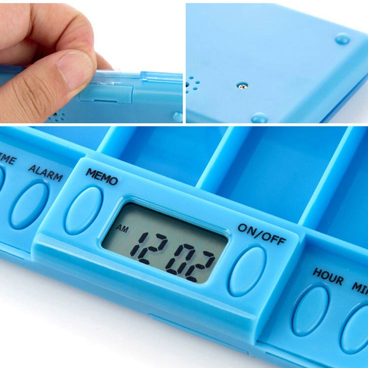 Portable 4 Grid LCD Digital Pill organizer Tablets Case Box Reminder Container with 8 Sets of Alarm