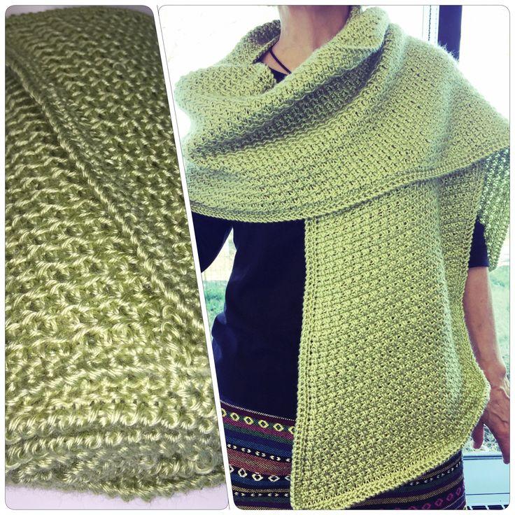 Écharpe au crochet circulaire tunisien #6. Bordure au crochet.  76x12 pouce