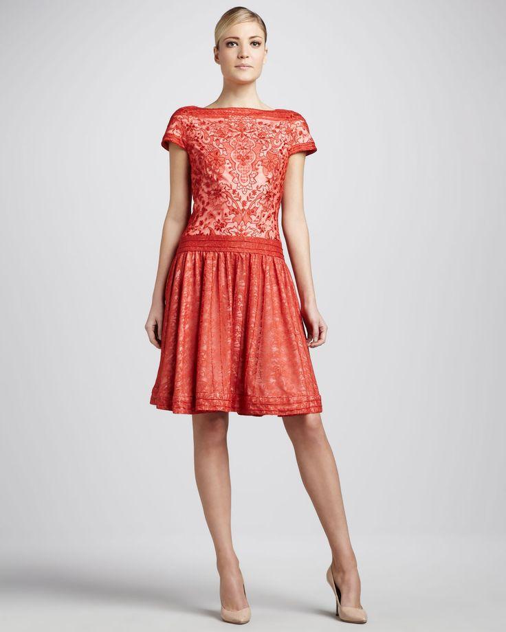 Tadashi shoji cap sleeve lace cocktail dress neiman for Neiman marcus dresses for weddings