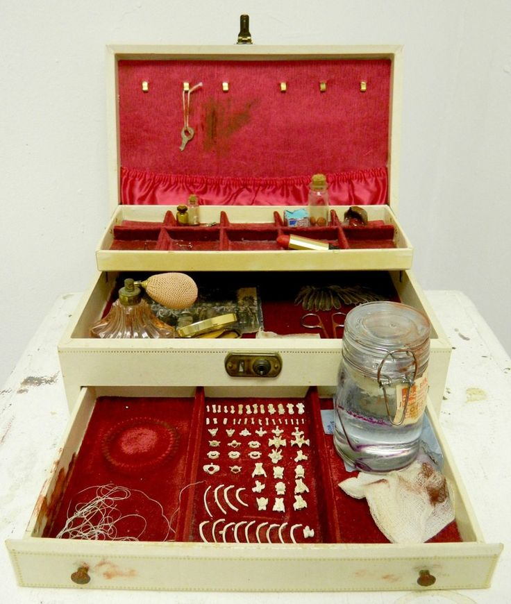 "Box 3: 16Lx15Wx12""H/jewelry box, cleared snake, cherry cordial, lipstick, bones and mixed media/2014"