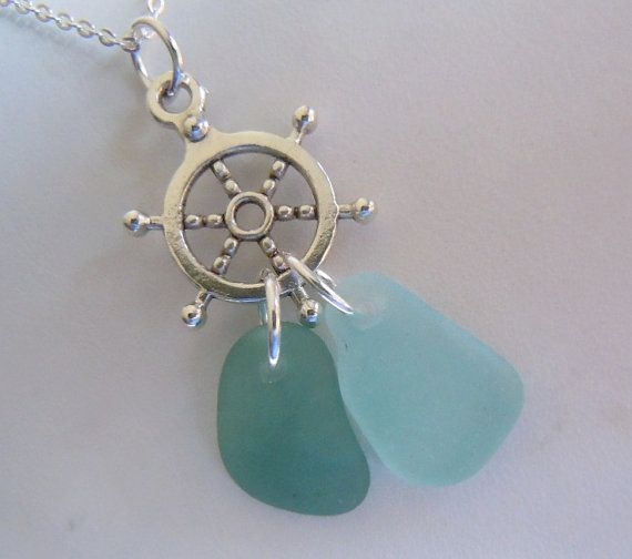Nautical Necklace Beach Glass Jewelry Sea Glass Pendant