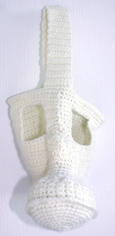 crochet gas mask, part of series by French Netherlands Crochet Artist Lauriane Lasselin