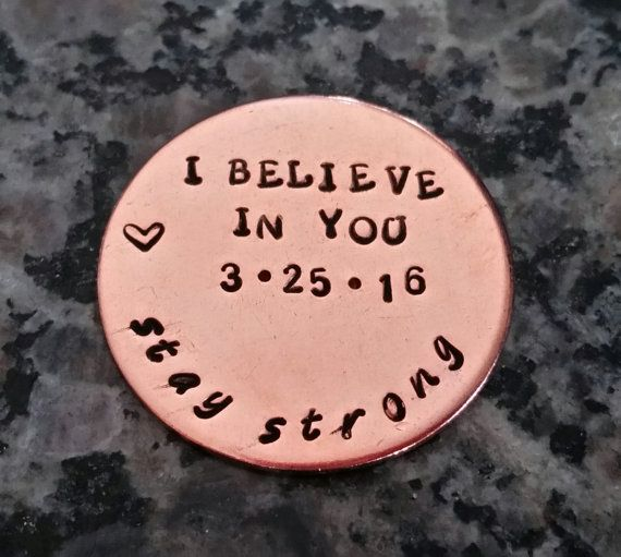 SOBRIETY keychain addiction recovery gift sobriety pocket token recovery gift, i believe in you, stay strong, handstamped, AA sobriety date
