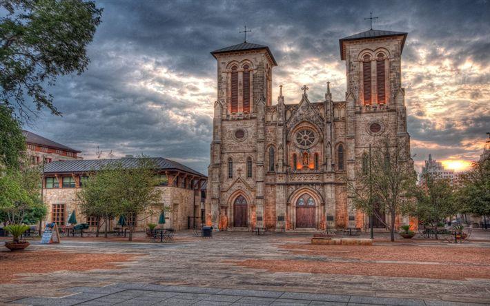 Download wallpapers San Fernando Catedral, Archidioecesis Sancti Ferdinandi, cathedral, HDR, San Antonio, USA, America