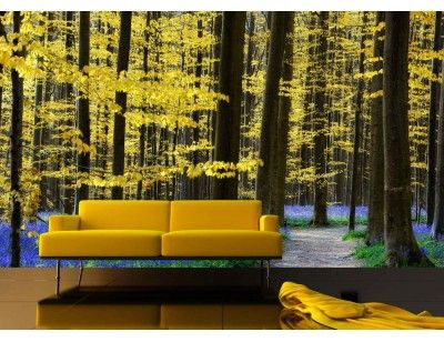"""Mural """"Yellow and Blue Forest"""". A wall mural from Muralunique.com. Photography by Lars van de Goor. https://www.muralunique.com/yellow-and-blue-forest-13-5-x-8-4-11m-x-2-44m.html"""