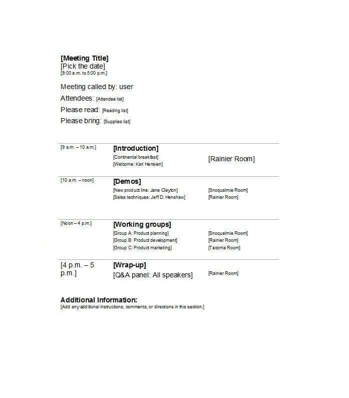 Meeting Agenda Templates Agenda Template Meeting Agenda