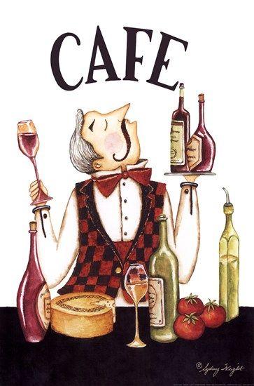 Waiter Cafe by Sydney Wright art print
