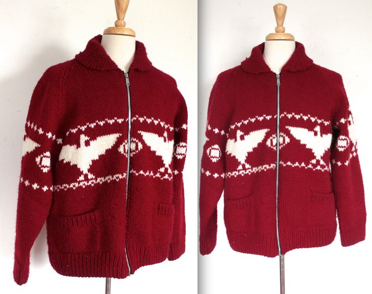 Vintage 1960s Cowichan // 60s Maroon Knit Cowichan Sweater Jacket with Thunderbirds // Canadian Camping by TrueValueVintage on Etsy