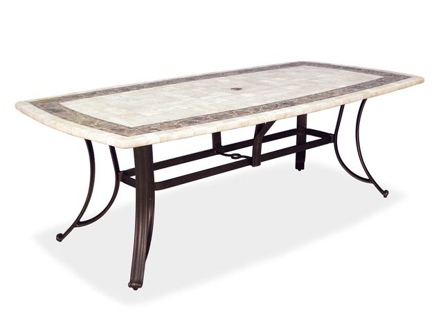 84 X 42 Rectangular Aluminum Travertine Stone Top Dining Table