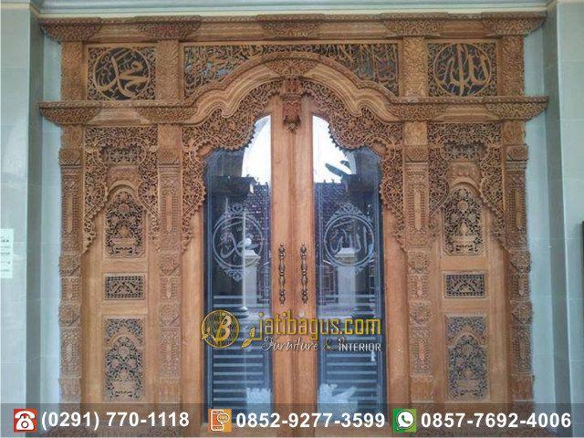 Pintu Gebyok Kaligrafi Lafad Arab kombinasi Kaca